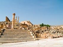 Het forum in Jerash, Jordanië. Stock Afbeeldingen