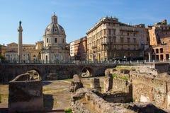 Het Forum van Trajan, Rome, Italië Stock Foto's