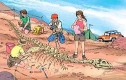 Het fossiel van de dinosaurus Stock Foto