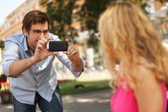 Het fotograferen met celtelefoon stock fotografie
