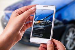 Het fotograferen van autoschade stock foto