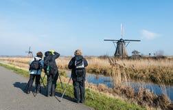 Het fotograferen van de Nederlandse windmolens Royalty-vrije Stock Fotografie