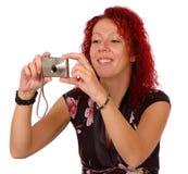 Het fotograferen van de vrouw royalty-vrije stock fotografie