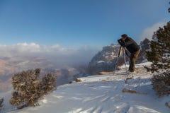 Het fotograferen van de Winter in Grand Canyon Stock Foto