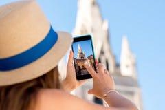 Het fotograferen van kerk in de stad van Grenoble stock foto