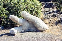 Het fragment van concrete mens dient Park Gioeni, Catanië, Sicilië, Italië in royalty-vrije stock afbeeldingen