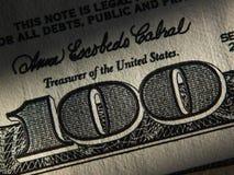Het fragment van 100 dollarrekening Royalty-vrije Stock Foto