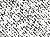 Het fragment van het handschrift stock fotografie