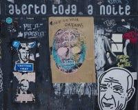 Het Fragment van LISSABON, PORTUGAL van straatart. stock afbeelding