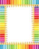 Het frame of de grens van potloden Stock Afbeeldingen
