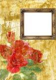Het frame en de rozen van weleer Stock Foto