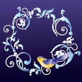 Het frame met ornament en vogel. Royalty-vrije Stock Afbeeldingen