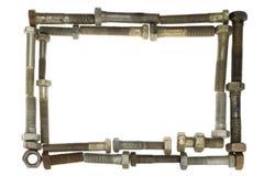 Het frame van bouten en van noten Royalty-vrije Stock Afbeeldingen