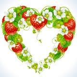 Het frame van de aardbei in de vorm van hart Stock Fotografie