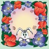 Het frame van de bloem met konijn Stock Afbeelding