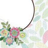 Het frame van de cirkel met bloemen en bladeren Stock Fotografie