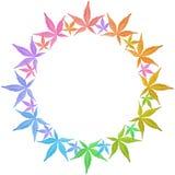 Het frame van de cirkel van kleurrijke bladeren dat op wit wordt geïsoleerdk. Stock Afbeelding