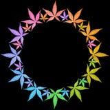 Het frame van de cirkel van kleurrijke bladeren dat op zwarte wordt geïsoleerds. Stock Fotografie