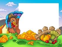 Het frame van de dankzegging met Turkije 1 Royalty-vrije Stock Foto's