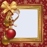 Het frame van de de groetfoto van Kerstmis het scrapbooking Stock Foto