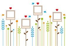 Het frame van de foto bloemen, vectorachtergrond Stock Foto