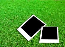 Het frame van de foto op groen gras Stock Fotografie