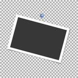 Het frame van de foto Polaroid- kader, vector met speld, nietje, paperclip malplaatje Vector illustratie stock illustratie