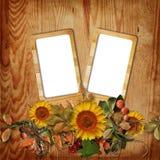 Het frame van de herfst op houten achtergrond Stock Afbeelding