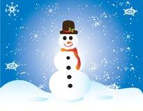 Het frame van de kerstkaart de sneeuw van de giftsneeuwman Stock Foto's