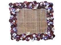 Het frame van de kunst met shells van de Kokkel patroon op canvas Stock Foto