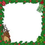 Het frame van de maretak met rendier Stock Afbeeldingen