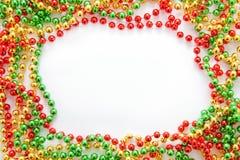 Het frame van de parels van Kerstmis Stock Foto