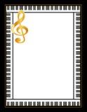 Het Frame van de piano, Gouden Sleutel jpg+eps Stock Afbeeldingen