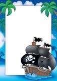 Het frame van de piraat met zeilboot bij nacht Stock Afbeeldingen