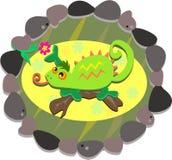Het Frame van de rots met een Groen Kameleon stock illustratie