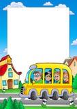 Het frame van de school met bus en jonge geitjes vector illustratie