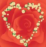 Het frame van de valentijnskaart `s dat van rozen wordt gemaakt Royalty-vrije Stock Foto