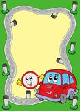 Het frame van de weg met leuke auto Royalty-vrije Stock Afbeelding