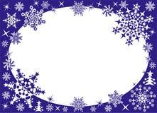 Het frame van de winter met sneeuwvlokken Stock Fotografie