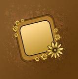 Het frame van Grunge met bloemen Stock Afbeelding