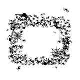 Het frame van Halloween dat van spinnen en knuppels wordt gemaakt Stock Foto's