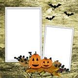 Het frame van Halloween op geweven achtergrond Stock Afbeelding