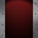 Het frame van het aluminium dat aan een rode koolstofvezel wordt vastgebout Royalty-vrije Stock Afbeeldingen