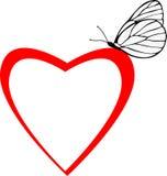 Het frame van het de vlinderhart van Valentin Royalty-vrije Stock Afbeeldingen