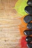 Het frame van het kuuroord met stenen en bladeren Royalty-vrije Stock Foto's