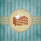Het frame van het malplaatje ontwerp met het stuk van de chocoladecake Stock Fotografie