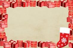 Het frame van Kerstmis grens met huidige dozen Stock Foto's