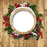 Het frame van Kerstmis met decoratie op houten royalty-vrije stock afbeeldingen