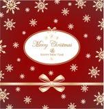 Het frame van Kerstmis met gouden boog en met sneeuwvlokken Royalty-vrije Stock Afbeelding