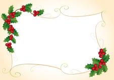 Het frame van Kerstmis met hulst Royalty-vrije Stock Foto's